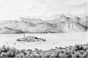 Orta, veduta presa dal Sacro Monte, 1847