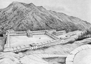 Santuario d'Oropa veduta dalla sommità del Monticello delle cappelle